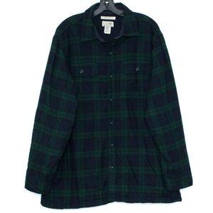 LL Bean Mens Shirt Flannel Fleece Lined Large I2